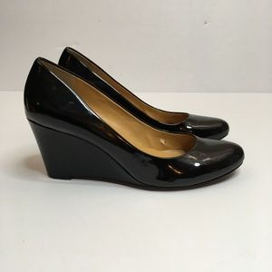 J Crew Wedge Patent Leather Black Heels shoe 9.5